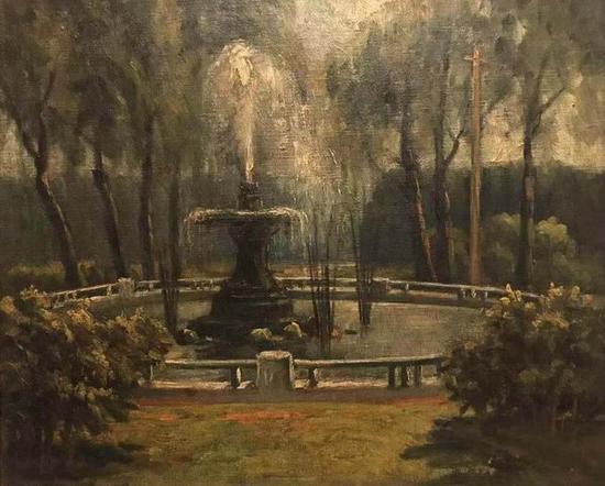 黄觉寺,《巴黎市郊的公园》,布面油彩,38x44.5厘米,1930年代,私人收藏