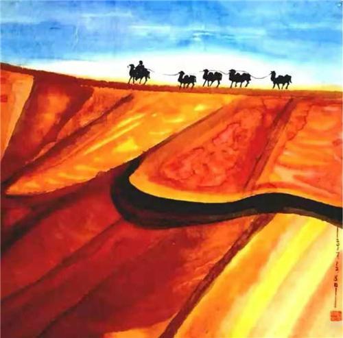▲《大漠行》68×68cm