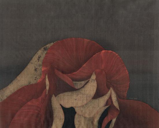 谢爱,《芯》,45 x 55cm,绢本,2017