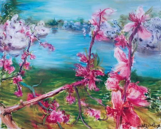 周春芽《桃花风景系列2006—苏州桃花》 2006 年作 油彩画布 200 x 250 cm。 成交价:HK$ 10,974,000