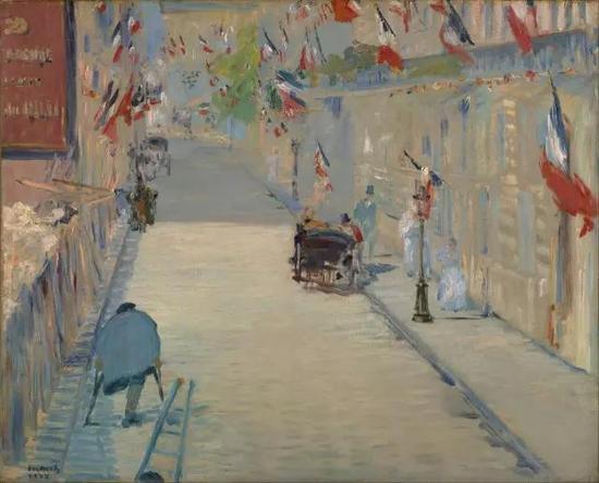 ▲ 旗帜飘飘的莫斯涅大街 25x31cm 布面油画 1878