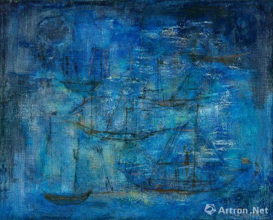 赵无极《蓝色夜航》布面油画 80×99cm 1951年 成交价:1978万元