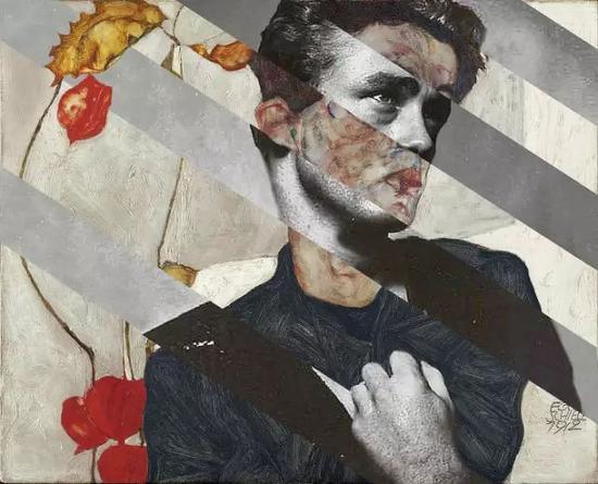 埃贡·利奥·阿道夫·席勒的自画像与锦和詹姆斯迪恩