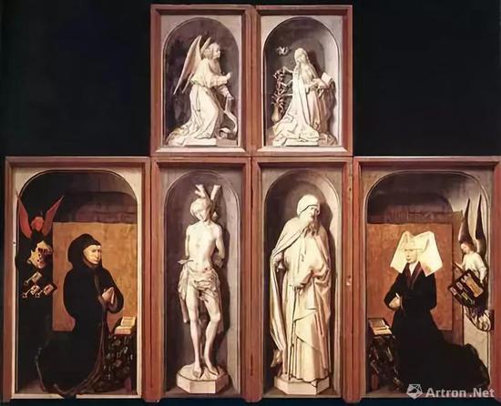▲汉斯·梅姆林《末日审判》,该画右上方的肖像画后的花瓶