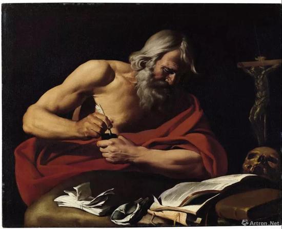 尼古拉斯·雷尼尔(1591-1667) 《圣哲罗姆》 油彩 画布