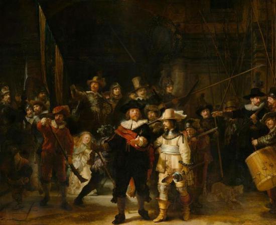 伦勃朗,《夜巡》,1642,布面油画,379.5x453.5cm。图/荷兰国立博物馆提供