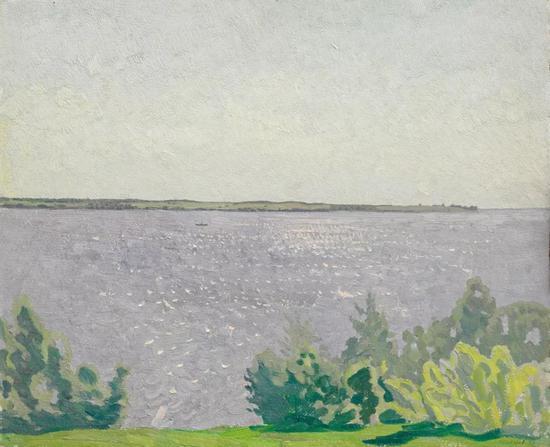 西多罗夫《闪光的湖》布面油画 1977年
