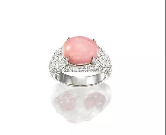 海螺珠配钻石戒指