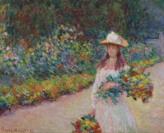 克劳德·莫奈 (1840-1926)《在吉维尼花园里的年轻女孩》油彩 画布 73 x 92 cm.1888年作 成交价:1606万美元