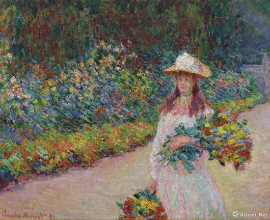 克劳德·莫奈《在吉维尼花园里的年轻女孩》油彩 画布 73 x 92 cm.1888年作