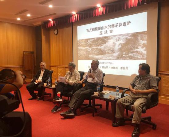 座谈会第一场(左起):来支钢、黄光男、陈传席、李振明