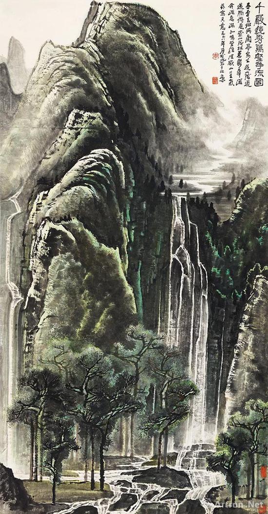 李可染《千岩竞秀万壑争流图》立轴 设色纸本 180×97cm