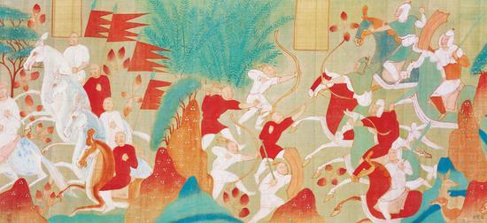 张大千 摹西魏敦煌壁画五百强盗成佛故事卷 局部 四川博物院藏
