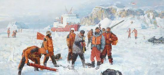 时卫平《极地科考·雪龙号》55X120cm 2018