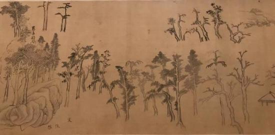 董其昌,《集古树石画稿》(局部),董其昌展