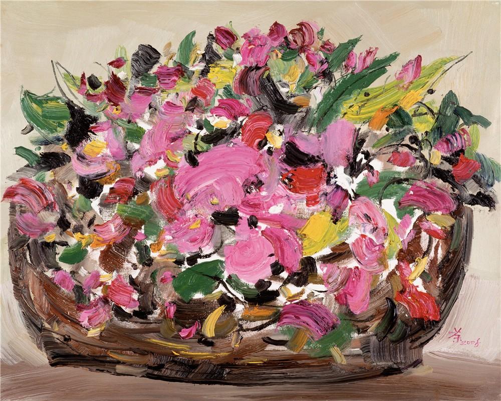 花与花 2008年 吴冠中 60×76厘米 油画 中国美术馆藏