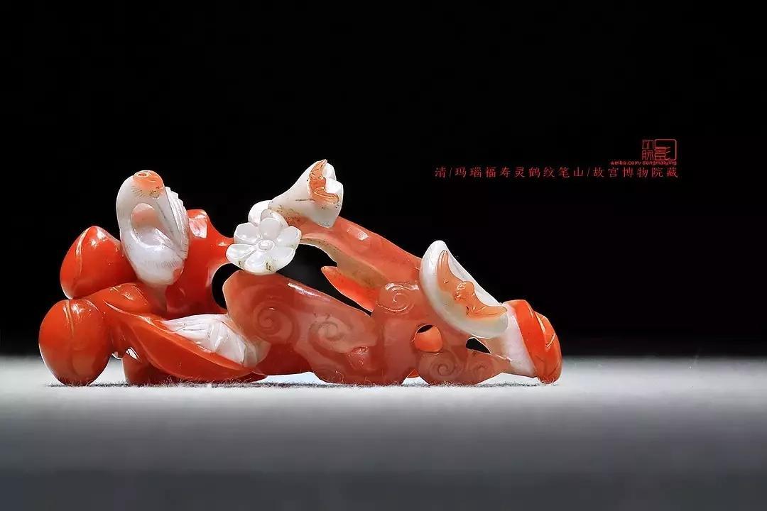 玛瑙福寿灵鹤纹笔山 清 故宫博物院藏