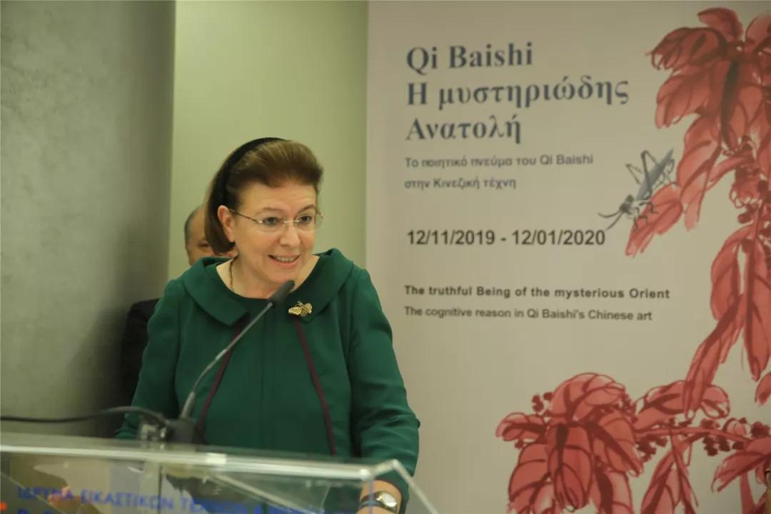 希腊共和国文化和体育部部长莉娜?门佐尼女士致辞并宣布展览开幕