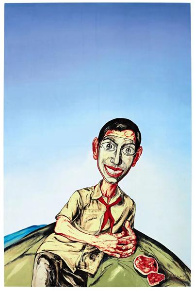 曾梵志《无题(面具系列)》 二〇〇一年作 油画画布 218.8 x 144 公分 9,000,000 - 15,000,000港元