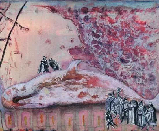 本杰明�q苏拉《水在变酸》布面多媒体,50.×.60.cm,2009年