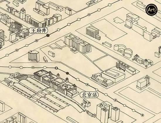 老北京手绘超呆萌二环地图