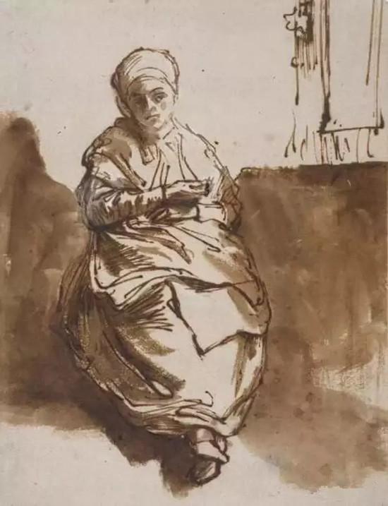 伦勃朗,是明暗光影大师。但他的素描,是以线为主的。