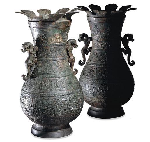 青铜壶(仪式酒器)东周 公元前5世纪 出自中国山西
