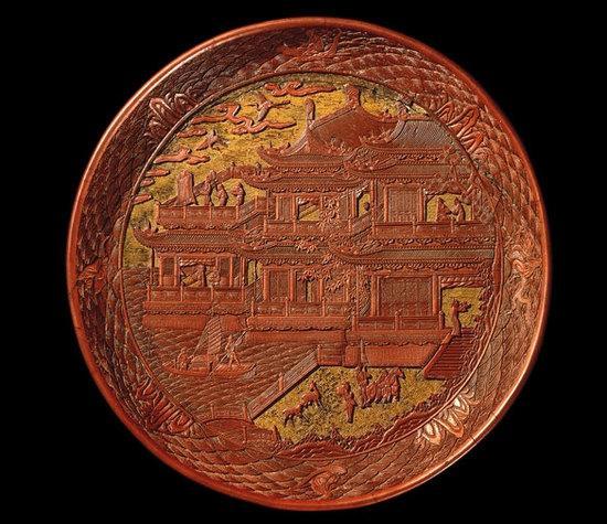 漆雕盘 明代 公元1489年 可能出自中国甘肃