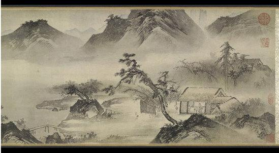 唐寅山水画 (公元1470-1523年)作,手卷,纸本水墨