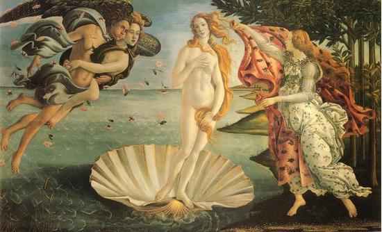 波提切利,《维纳斯的诞生》,1485年,佛罗伦萨乌菲齐美术馆