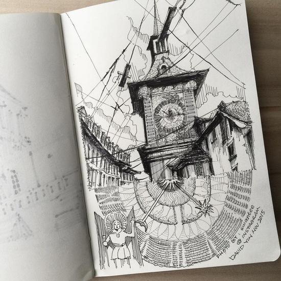一组室内设计师兼业余摄影师david yin带来的随身钢笔画速写,一幅幅