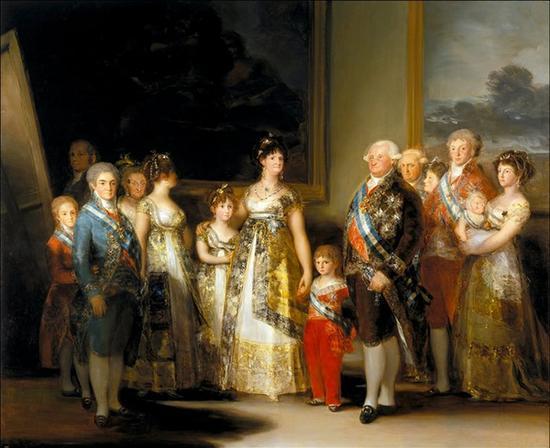 《查理四世一家》1800-1801年,布面油画,280cm*336cm ,马德里,普拉多博物馆