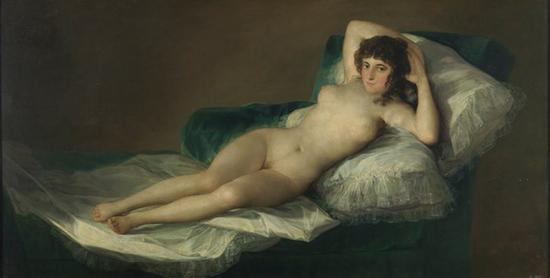 《裸体的马哈》1797-1800年,布面油画,97*190cm,马德里,普拉多美术馆