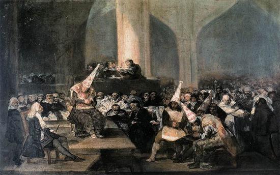 《宗教裁判法庭》1812-1819年,嵌板油画,46cm*37cm