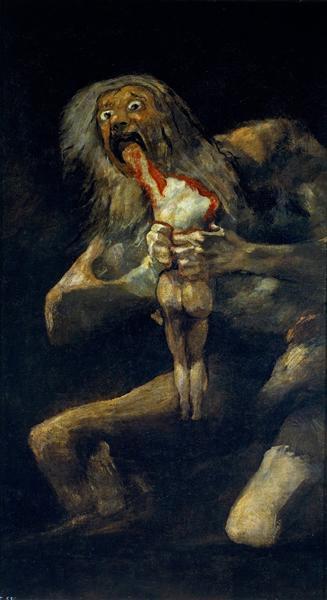 《噬子的农神》1820-1823年,油画,从灰泥墙面转移到画布,143.5cm*81.4cm,马德里,普拉多博物馆