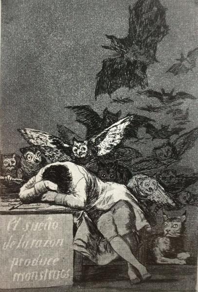 《理性沉睡,心魔生焉》,选自《狂想曲》,1797-1797年 , 凹版蚀刻画,21.6cm*15.2cm