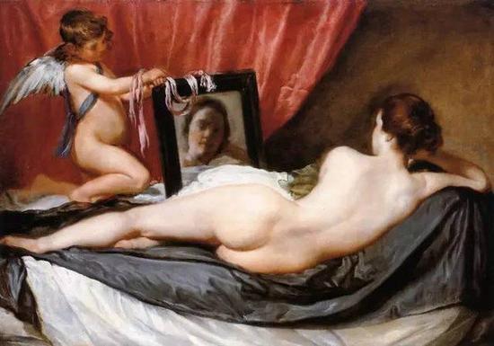 委拉斯开兹 《镜中的维纳斯》,布面油画,约1648-1650年,122.5cm*177cm