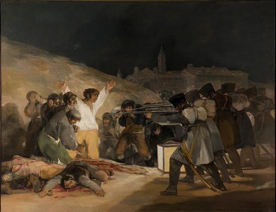 《5月3日的枪杀》,1814年,布面油画,266cm*345cm,马德里,普拉多博物馆