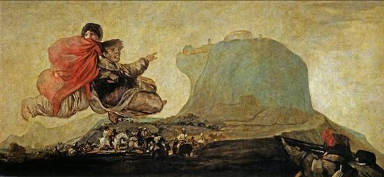 《奇幻景象》(阿斯莫迪亚)1820-1823年,油画,从灰泥墙面转移到画布,123cm*265cm,马德里,普拉多博物馆