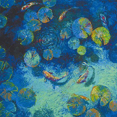 据外媒17日报道,美国布鲁克林画家斯科特作画从来不用画笔和调色刀,而是使用她的手指。她带上橡胶手套,蘸上颜料,在布满厚重油彩的画布上,惟妙惟肖地捕捉到了各种美丽瞬间:池塘里的鲤鱼、梦幻的城市风光等。斯科特表示,用手指作画让她更加贴近自己的艺术。