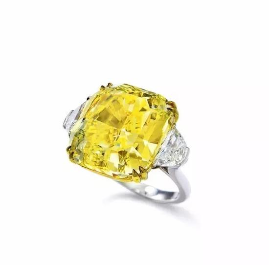 Scarselli设计27.51克拉艳彩黄钻石配钻石戒指,VVS1净度