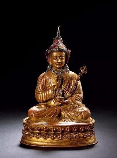 明中期 铜鎏金自在男相观音