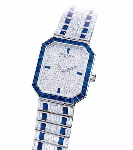 百达翡丽 型号3985/1,白金八角形镶钻石及蓝宝石手动上链链带腕表