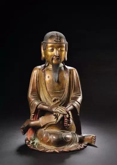 十五世纪 铜鎏金莲花生