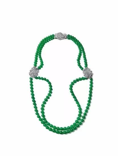 卡地亚镶嵌 缅甸天然翡翠珠配钻石颈链