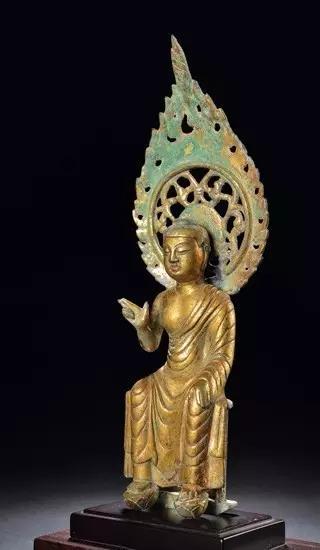 隋 铜鎏金弥勒佛坐像