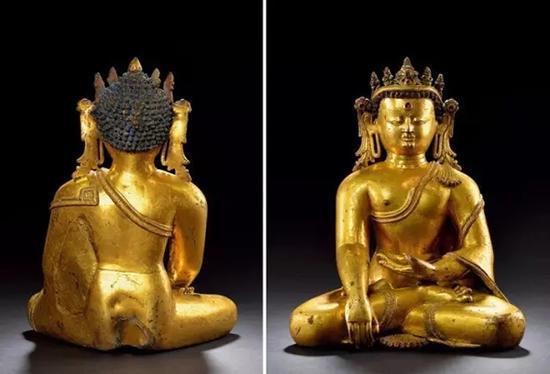 十三世纪 尼泊尔铜鎏金宝冠释迦牟尼