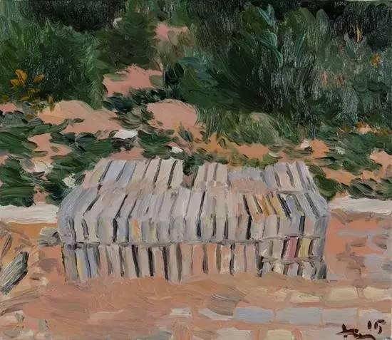 刘小东《砖头》, 2015 布面油画 35 x 40 cm