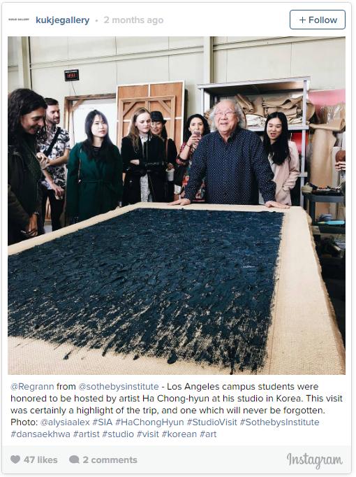 来自@sothebysinstitute的@Regrann——洛杉矶校区的学员很荣幸可以到Ha Chong-hyun韩国的工作室进行访问。这次的访问无疑是这次旅程的高潮,让人难忘。图片:@alysiaalex #SIA #HaChongHyun #StudioVisit #SothebysInstitute #dansaekhwa #artist #studio #visit #korean #art