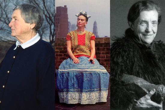 从左至右:艾格尼丝·马丁,弗里达·卡罗,路易斯·布尔乔亚。 图片:Courtesy of YouTube and artnet.